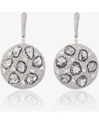 Saqqara - 18k White Gold And Diamond Disc Earrings - Lyst