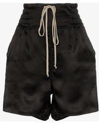 Rick Owens - Satin Split Side Drawstring Shorts - Lyst