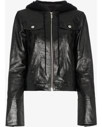 Helmut Lang - Hooded Leather Jacket - Lyst