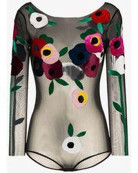 Alexia Hentsch - Floral Applique Round Neck Bodysuit - Lyst