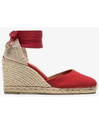 Castaner - Red Carina 80 Cotton Canvas Wedge Sandals - Lyst
