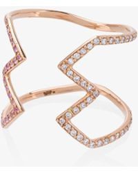 Sabine G - 18k Rose Gold Open Ziggy Ring With Diamond And Sapphire - Lyst