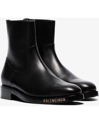 Balenciaga - Black Logo Detail Leather Ankle Boots - Lyst