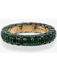 SHAY - Green And Yellow Gold 3 Side Emerald Ring - Lyst