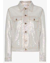 Ashish - Sequin Embellished Collared Denim Style Jacket - Lyst