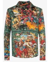 Edward Crutchley - Comic Book Hero Print Silk Shirt - Lyst
