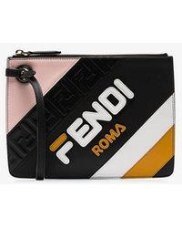 Fendi Black Mania Triplette Xs Leather Clutch Bag