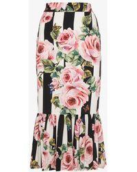 Dolce & Gabbana - Midi Rose Print Skirt - Lyst