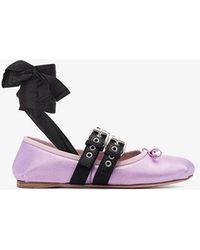 Miu Miu - Metallic Leather Lace Up Ballet Flats - Lyst