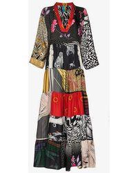 Rianna + Nina - Multi Horse Floral Print V-neck Silk Kaftan Dress - Lyst