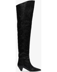 Attico - 30mm Asia Croc Embossed Leather Boots - Lyst