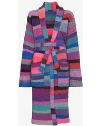 The Elder Statesman - Striped Belted Cashmere Robe - Lyst