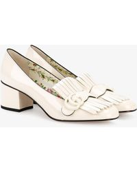 Gucci - White Patent Marmont Heeled Loafers - Lyst
