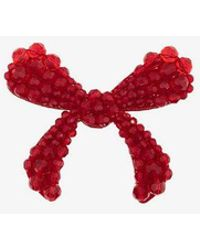 Simone Rocha - Red Crystal Embellished Velvet Bow Brooch - Lyst