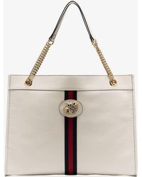 793eb2a86b9 Lyst - Gucci White Rajah Tiger-embellished Leather Tote Bag in White