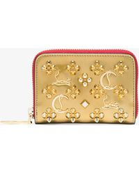 Christian Louboutin - Gold Stud Embellished Leather Purse - Lyst