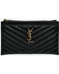Saint Laurent - Black Monogram Matelasse Quilted Leather Clutch - Lyst