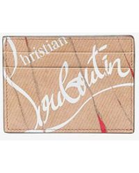 Christian Louboutin - Brown Kios Hand-torn Paper Print Leather Cardholder - Lyst