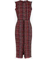 Alexander McQueen - Tweed Midi Dress - Lyst