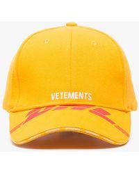 Vetements - Yellow Dhl Cotton Baseball Cap - Lyst