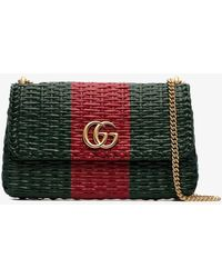 a2b910cb4441 Gucci - Green And Red Web Straw Small Shoulder Bag - Lyst