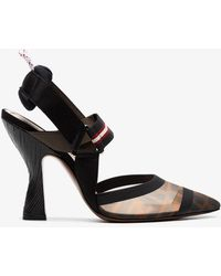 Fendi - Brown, Black And Red Colibrì 105 Leather Slingbacks - Lyst