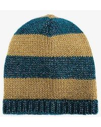 Gucci - Blue And Mustard Yellow Striped Knit Beanie - Lyst