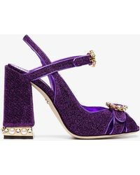 Dolce & Gabbana - Purple Bette 105 Lurex Crystal Sandals - Lyst