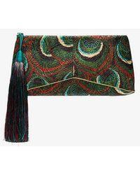 Dries Van Noten - Green Embroidered Cotton Blend Tassel Clutch - Lyst
