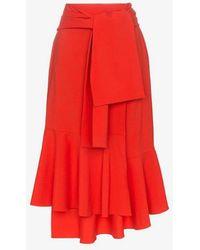 ADEAM - Tie Wrap Wool Midi Skirt - Lyst