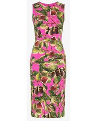 Dolce & Gabbana - Fig Print Sleeveless Silk-blend Dress - Lyst