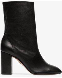 Aquazzura - Black 'boogie 85' Scrunch Leather Boot - Lyst