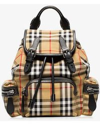 24d83b6ff2f5 Lyst - Burberry Vintage Check Small Cotton And Leather Backpack
