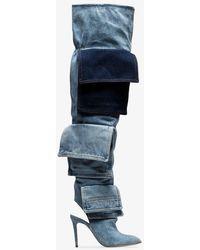 Natasha Zinko - Blue Thigh-high Denim Boots - Lyst