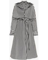 Paskal - Gingham Belted Silk Coat Dress - Lyst