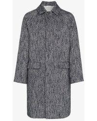 Jil Sander - Single Breasted Herringbone Virgin Wool Blend Coat - Lyst
