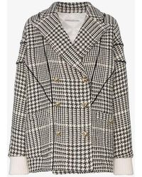 Alessandra Rich - Double-breasted Houndstooth Jacket - Lyst
