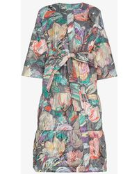 Rianna + Nina - Floral Print Quilted Long Sleeve Cotton Coat - Lyst