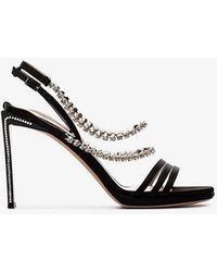 Alchimia Di Ballin - Black Mya 100 Crystal Embellished Silk Satin Sandals - Lyst