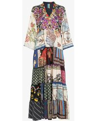 Rianna + Nina - Multi Floral Polka Dot Print Silk V-neck Kaftan Dress - Lyst