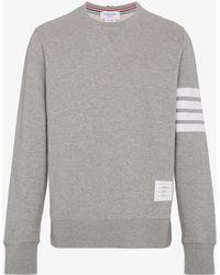 Thom Browne - Grey Classic Sweatshirt With Engineered 4-bar In Classic Loop Back - Lyst