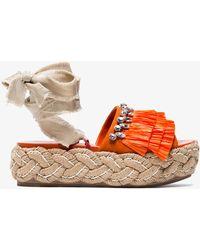 Miu Miu - 45 Crystal Fringed Flatform Tie Up Sandals - Lyst