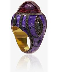 Sevan Biçakci - Ottoman Architecture-inspired Gold Ring With Black Diamonds And Amethyst - Lyst