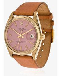 La Californienne - Flamingo Rolex Oyster Perpetual Date 14k Solid Gold Watch 34mm - Lyst