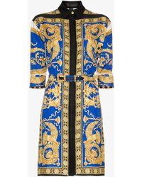 Versace - Pillow Talk Print Silk Shirt Dress - Lyst