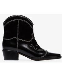 Ganni - Black Meg 50 Leather Ankle Boots - Lyst
