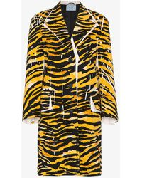 Prada - Single Breasted Tiger Print Coat - Lyst