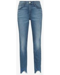 3x1 - Straight Authentic Crop Distressed Hem Skinny Jeans - Lyst