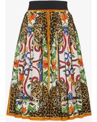 Dolce & Gabbana - Majolica And Leopard Print Circle Skirt - Lyst