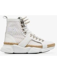 Marques'Almeida - White Spike Mesh And Leather High Top Sneakers - Lyst